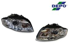 *14 PIN DEPO 06-08 AUDI A4/S4 B7 4D/5D R8 DRL LED CHROME XENON HID D1S HEADLIGHT