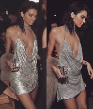 SALE! UK BNWT Kendal Jenner Style Glitter Sequin Backless Mini Party Dress S M L