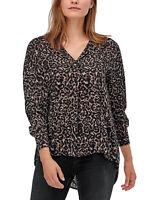 Women's Size 8,10,12,14,24 Brown Leopard Print Dipped Hem Long Sleeve Top (b7)