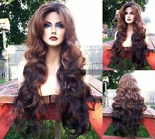 "USA: Human Hair BLEND Long Black Brown Ombre 4x4"" LACE FRONT Dark Root Wig"