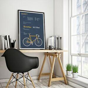 Eddy Merckx - Hour record Colnago Bike cycling A3, A2, A1 Posters Prints