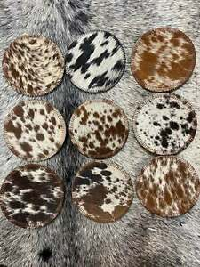 100% Handcrafted Real Brazilian Hair on Cowhide Genuine Leather Solid Coasters