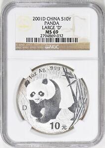 China 2001-D Silver 10 Yuan Panda Large D PAN-348A NGC MS-69