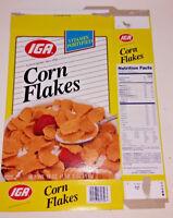 Vintage IGA Corn Flakes Flat Empty Box