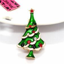 Betsey Johnson Charm Brooch Pin Women's Green Enamel Christmas Tree Crystal