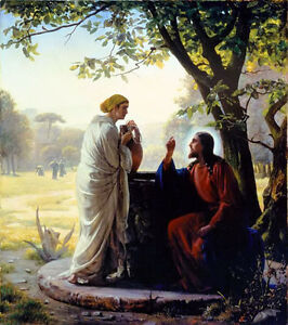 Art Oil painting carl heinrich bloch - Christ and woman at the well landscape
