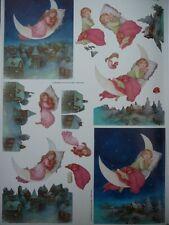 3D A4 Christmas Paper Tole Asleep on the Moon Xmas Eve