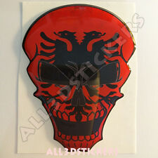 Sticker Flag Albania Skull Adhesive Decal Resin Domed Car Moto Tablet Laptop 3D