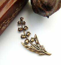 Antique Brass (2 Pieces) Lily of the Valley Spray Flower Stamping (Fb-6053)