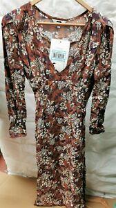 (SAMPLE DRESS) NEXT - Women's Brown Floral Dress - UK Size 12 - (Z7)