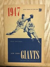 1947 New York Giants Official Program and Score Card Unscored vs Dodgers