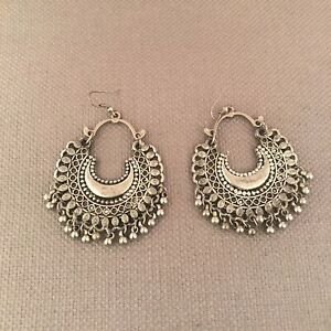 Indian Ethnic Bollywood Style Jewelry Earrings Silver Toned