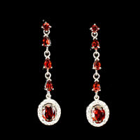 Unheated Oval Mozambique Garnet 8x6mm Natural Cz 925 Sterling Silver Earrings