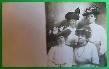 4 Ladies with Big Hats-Pins on Blouses Antique Vintage AZO Real Photo Postcard