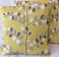 "2 x Ochre Grey Graphic Leaf Handmade Cushion Covers matches Next Curtains 16x16"""