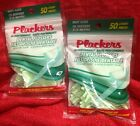 2 Packs PLACKERS 100 MINT FLOSSERS 50 COUNT Each DENTAL FLOSS PICK DISPOSABLE