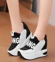 Womens Hidden High Wedge Platform Sneakers Creepers Muffins Trainers Shoes E49