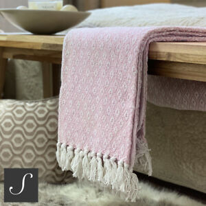 Luxury 100% Cotton Dusky Blush Pink Throw Bed Sofa Fringed Large Woven Geometric