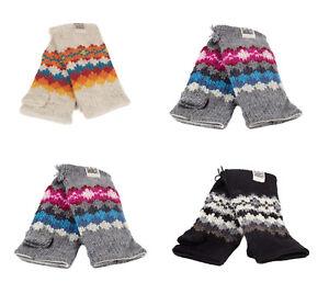 Kusan 100% Wool Multi-Coloured Fingerless Gloves / Handwarmers PK1605