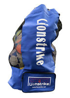 Lionstrike Football Sack Rugby Ball Carry Bag, inc Pocket, holds 13-15 balls