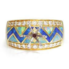 Santa Fe Inlaid Opal Semi-Mount Ring with Diamonds 18K