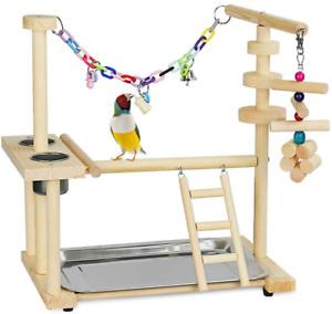 Olpchee Bird Playground Parrot Playstand Bird Play Stand Wood Perch Gym Playpen
