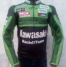 MEN KAWASAKI MOTOGP RACING TEAM MOTORCYCLE LEATHER JACKET Green Color All Sizes