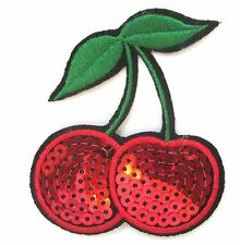 Sequin Cherries Iron On Patch- Fruit Food Snack Embroidered Applique Badge
