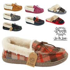 LADIES FUR LINED MOCCASIN CLOGS MULES WOOL SLIPPERS SHOES SIZES UK 3 4 5 6 7 8