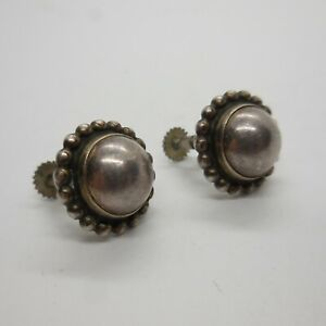 Antique Round Dome Sterling Silver Screw-On Earrings by Georg Jensen, Circa 1930
