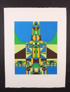 EDWARD J. SOKOL MID-CENTURY MODERN ABSTRACT SERIGRAPH ART PRINT 31/150 SIGNED
