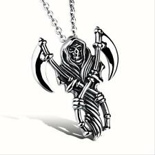 Men's Large Grim Reaper Skull Stainless Steel Biker Pendant Free Chain Necklace