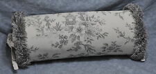 NEW Fringed Bolster Pillow made w Ralph Lauren Saint Honore Gray Floral Fabric