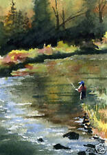 "Fly Fishing ""IN THE SEAM"" Giclee 5 x 7 Art Print Signed by Artist DJR"