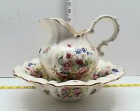 "Vintage KLM Pottery Staffordshire Pitcher Jug & Wash Basin Floral Big 7.5"" T"