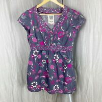 MANTARAY Grey Purple Multi Floral Birds SIZE 12 UK Short Sleeve Tunic Style Top