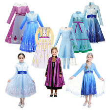 Kids Elsa Anna Princess Printing Dresses for Girls Fancy Party Cosplay Clothing