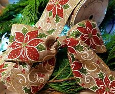 "GILDED POINSETTIA WIRE WIRED EDGE BURLAP RIBBON 2.5"" CHRISTMAS GLITTER VINTAGE"