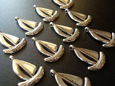 """Small Sailboat Charm / Pendant - Set of 12 - Antique Silver - 3/4"""" Tall x 1/2"""" W"""