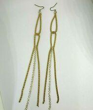 Very Long Gold Rhinestone Dangle Earrings Pierced