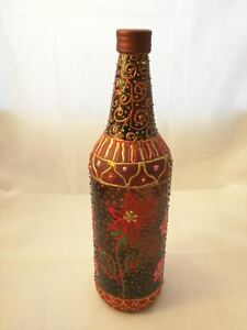 James Johnson Hand Painted Wine Bottle w/ Lid Floral Reds & Golds