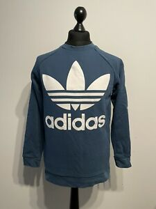Adidas 90s Inspired Navy Blue Pullover Sweatshirt Jumper Sweater Size: 10UK