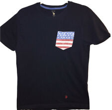 U.S. Polo Assn. Mens Crew Neck With American Flag Pocket T-Shirt Size M Blue