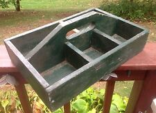 Vintage Antique Wood Carpenter Garden Divided Tool Carrier Tray Top Handle