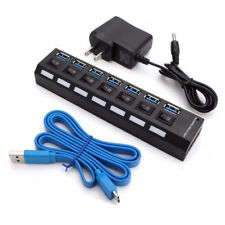 Black 7 Port USB 3.0 Hub On/Off Switches+AC Power Adapter Cable For PC Laptop