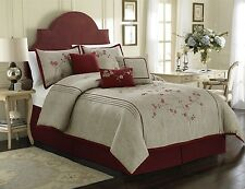 Chezmoi Collection 7pc Red Cherry Blossom Floral Embroidery Comforter Set, Queen