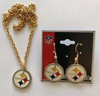 Pittsburgh Steelers Logo Gold Necklace and Earrings Set