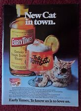 1976 Print Ad Early Times Kentucky Bourbon Whiskey ~ Tomcat Cat with an Eyepatch