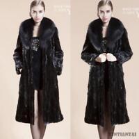 Womens Faux Mink Fur Collar Thick Winter Parka Overcoat Outwear Coats Chic Long