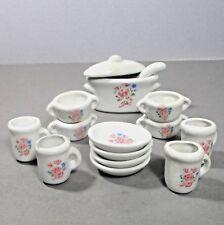 Antique 15 piece doll house dish set pink rose w soup kettle, cover & ladle áµ› u2